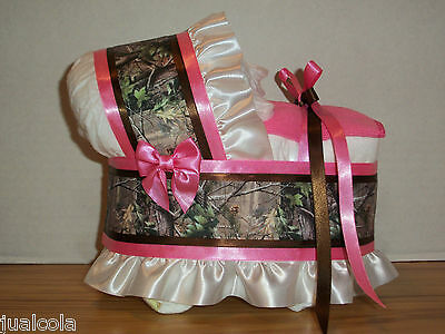 HOT PINK HUNTING CAMO GIRL DIAPER BASSINET BABY SHOWER TABLE DECORATION](Pink Camo Baby Shower Decorations)