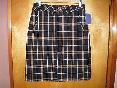 NWT NEW womens size small S ladies black khaki plaid LAURA SCOTT straight skirt  Black Khaki Skirt