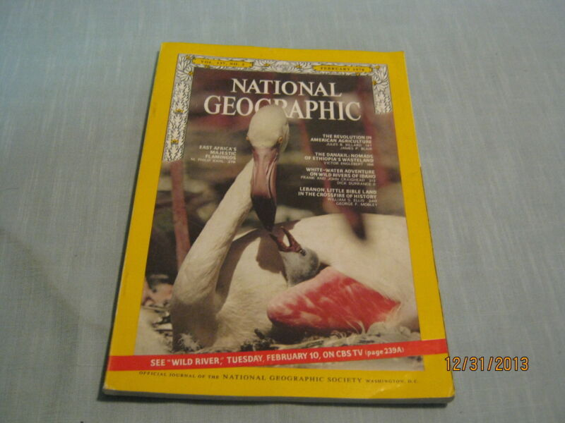 NATIONAL GEOGRAPHIC February 1970 FLAMINGOS Ethiopia Danakil Nomads LEBANON