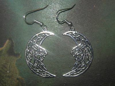 New Antique Silver Tone Irish Ireland Celtic Knot Moon and Dragon Earrings  (Dragon Knot Earrings)