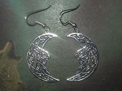 -  NEW ANTIQUE SILVER TONE IRISH IRELAND CELTIC KNOT MOON+DRAGON EARRINGS