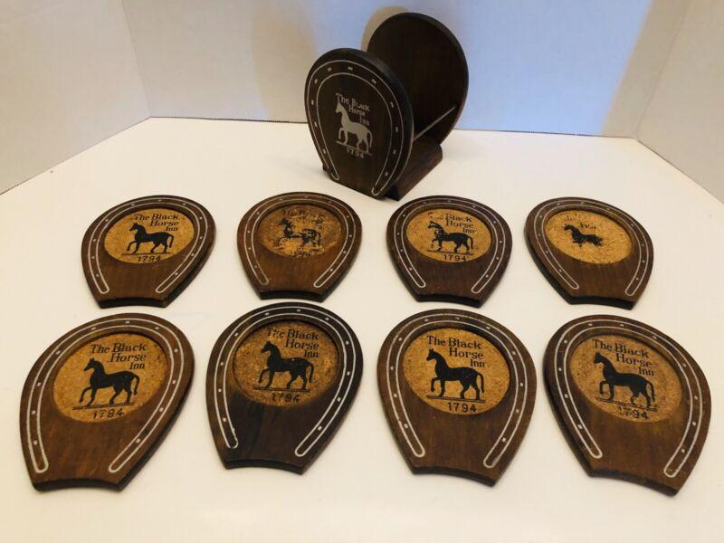 Vintage Woodcrest Styson The Black Horse Inn Wooden  Horseshoe 8 Coasters RARE!