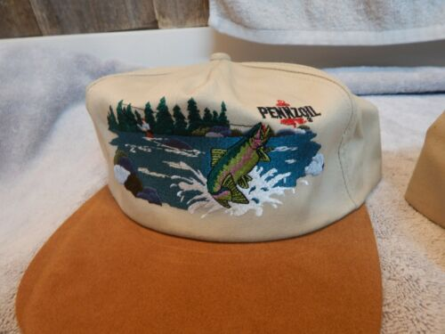 Vintage Pennzoil Hat Suede Bill Embroidered Fishing Scene