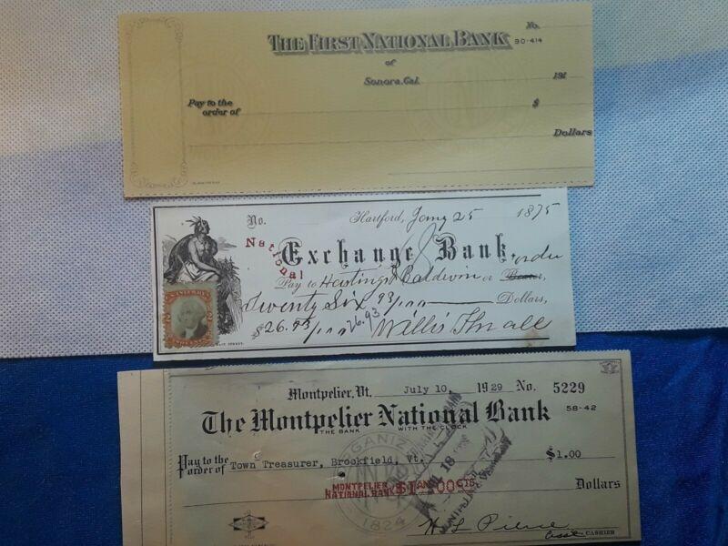 Bank Check, National Exchange Bank  1864 Beautiful vignette and 2 free Checks