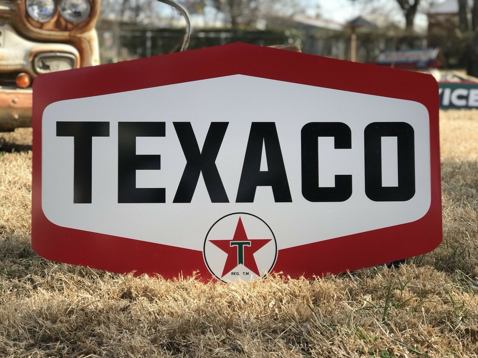 VINTAGE STYLE METAL SIGN Texaco Motor Oil Laser Cut Out Garage  16.9x23.