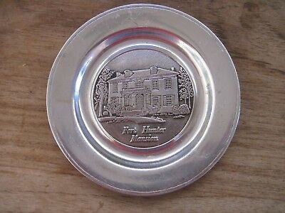 "Pewter FORT HUNTER MANSION 6"" Plate, Harrisburg, PA..Shows Wear, Needs Cleaning"