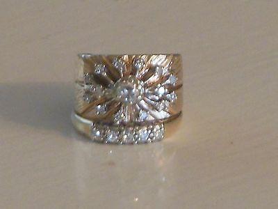 Vintage Women's 14K Yellow Gold 20-Diamond Wedding Ring Set (Size 5)