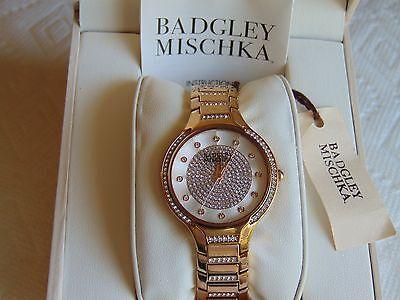 "BADGLEY MISCHKA 35mm ""Swarovski Crystal"" 18K Rose Gold Fused SS Watch L@@K!!!"