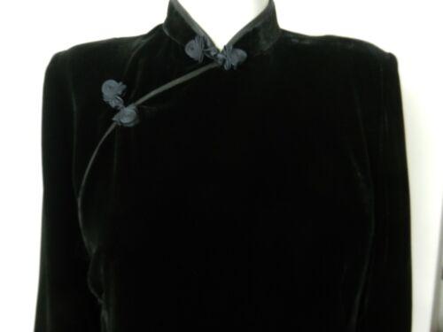 Long black velvet silk lined cheongsam dress * excel condition *