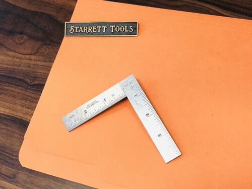 Vintage The L.S. STARRETT No. 21  4 x 3 Inch Thin Steel Try-Square. USA Made.