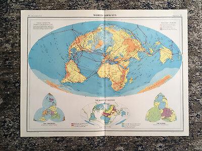 C1952 Antique Map Of World Airways Large J G Bartholomew
