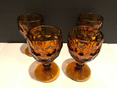Set of 4 Imperial Glass-Ohio Provincial Amber Thumbprint Water Goblets