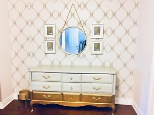 Beautiful wooden grey dresser dipped in gold