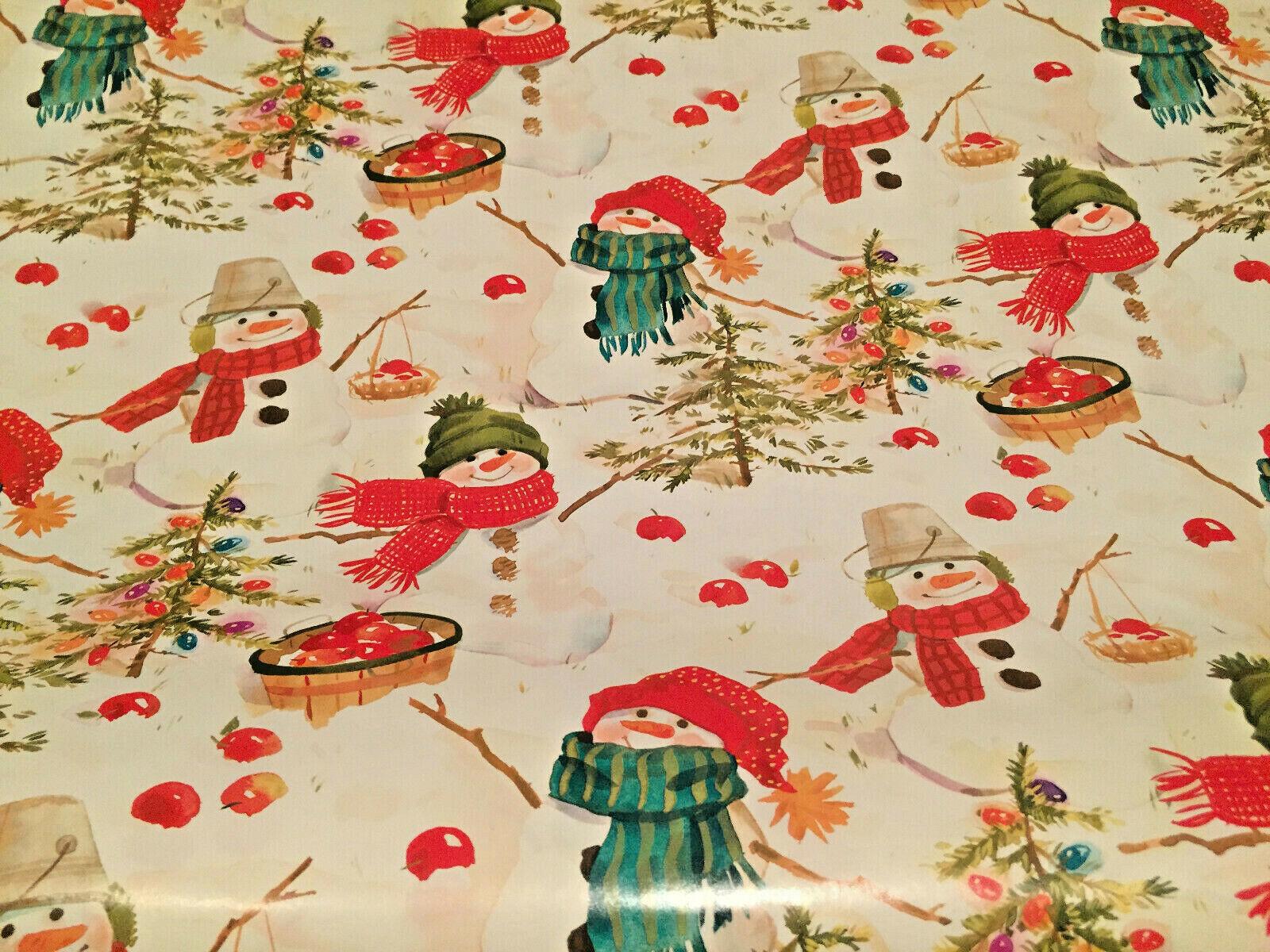 "Hallmark Wrapping Paper Christmas Caroling Snowman 30""~2-1/4"