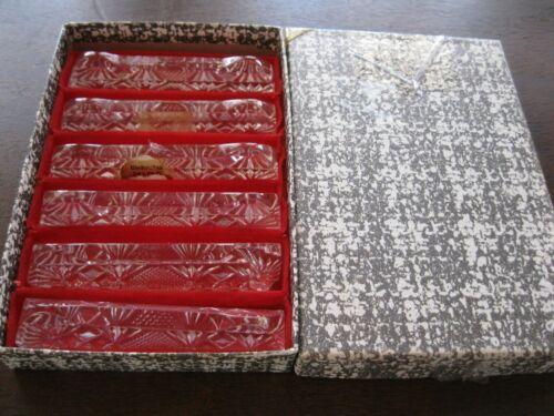 Vtg Set/6 Bleiknstall Lead Cut Crystal/Glass Knife/Silverware Rests in Box