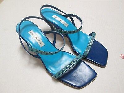 Two Tone Ankle Wrap Sandal (Ann Marino Two Tone Blue Leather Ankle Wrap Heels Sandal Size 6.5)