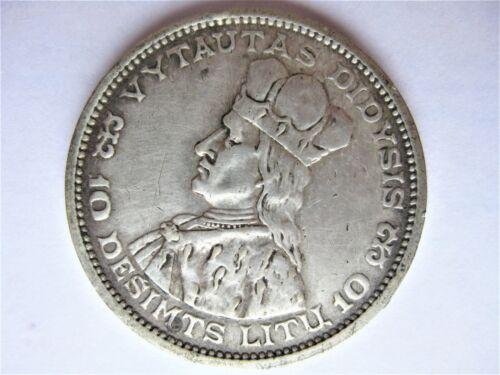 10 LITU 1936 Vytautas Didysis SILVER .750 Coin Lithuania Lietuva