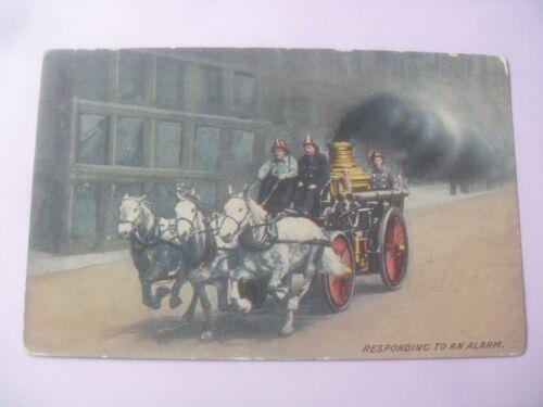 Fire engine horse drawn postcard