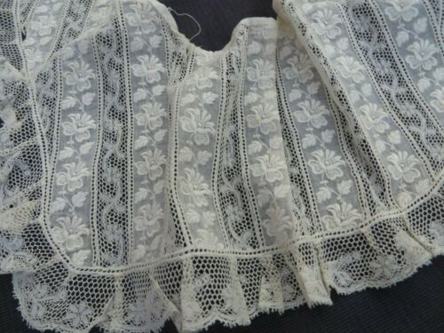 Antique Valenciennes Broderie Mixed Lace Collar Bear Doll Child Dress Hat Trim