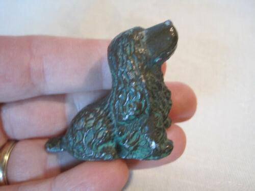 Antique vintage cast metal Cocker Spaniel dog figurine with bronze wash finish