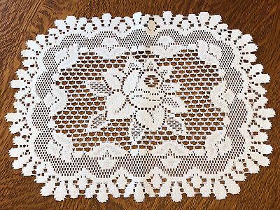 "16"" X 12""  Heritage Lace Doilie Doily - Rose Design"