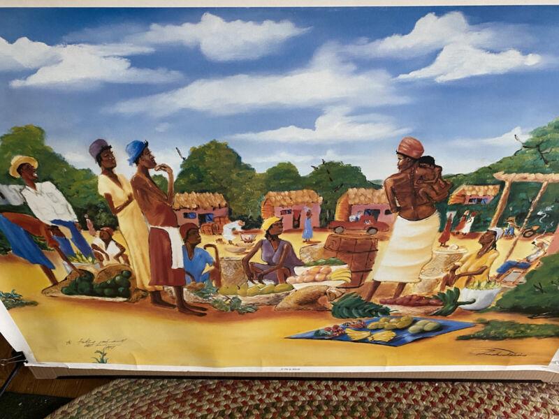 """Vintage 1994 Franks Deceus Poster Signed Haitian Artist """"A Cote de Marche"""" 25x38"""