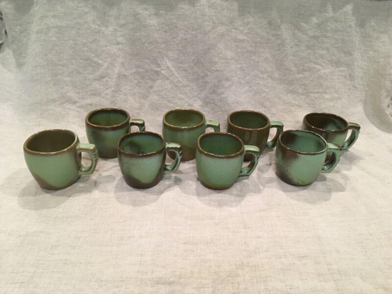 Set of 8 Prairie Green Frankoma 5C Mugs