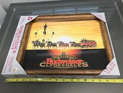 vintage BUDWEISER wooden/glass Wall Clock world famous Clydesdales (new)