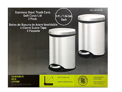 Sensible Eco Living Stainless Steel Garbage Cans Trash Cans 2Pk 1.56 Gal