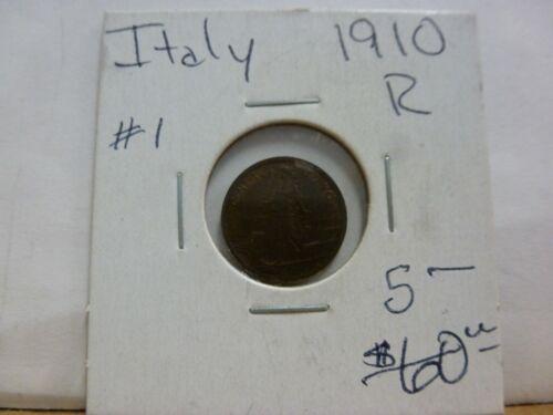 1910-R  Kingdom Italy  1 cent  King Vittorio Emanuele III