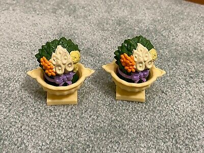 2 Fisher Price Loving Family Grand Mansion Dollhouse Porch Flower Pots Plants
