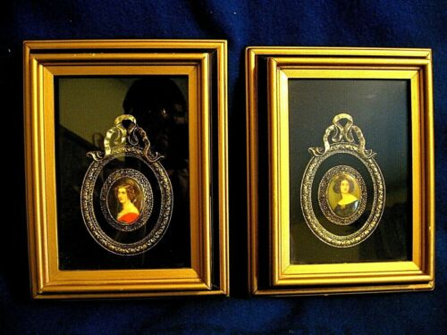 VICTORIAN SHADOW BOX PICTURES { SET 2} OVAL  CAMEO FRAMED IN METAL FILIGREE