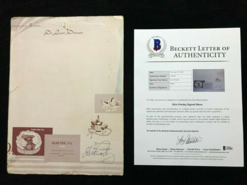 Elvis Presley Signed Autographed Menu BAS BECKETT LOA