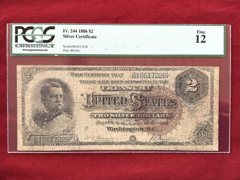 "FR-244 1886 Series $2 Two Dollar Silver Certificate ""Hancock""  *PCGS 12 Fine*"