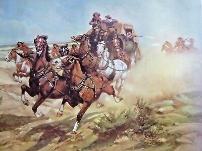HW Hansen Lithograph - Poster   'Perils of the Overland Trail'  Western Art