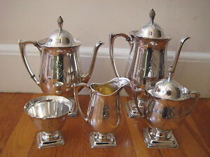 Sterling silver art nouveau tea set wallace baroque s monogram deco modern vt - Deco baroque moderne ...