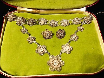 Antique Ornate Silver Cannetille Filigree Set Necklace Bracelet Earrings