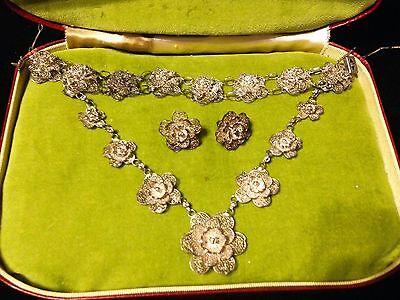 Antique Ornate Silver Cannetille Filigree Set Necklace Bracelet Earrings