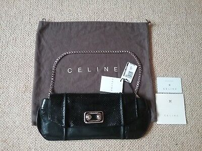 BNWT CELINE BLACK PYTHON AND LAMBSKIN CLUTCH BAG RRP £1500