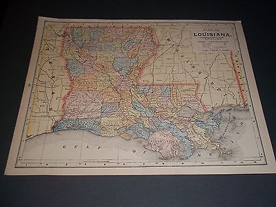 1896 LOUISIANA Antique color state map original authentic