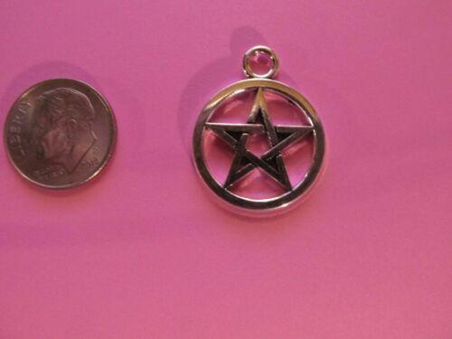 18  Pewter Wiccan  Pentacle Pentagram  Charms