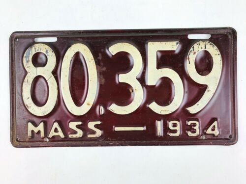 Massachusetts 1934 Vintage License Plate High Quality Tag Man Cave Garage Gift