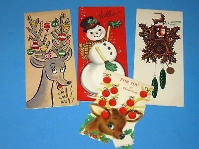 4 Vtg Mid Century Christmas Card Reindeer Ornament Antlers Santa Cuckoo Clock