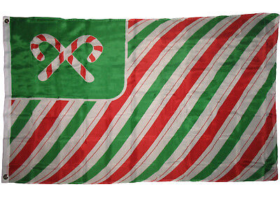 3x5 Merry Christmas Seasons Greetings Candy Cane Poly Flag 3