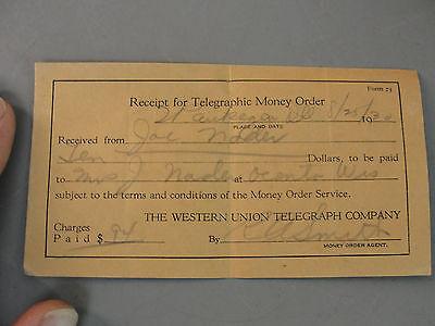 Western Union Telegraph Company Telegraphic Money Order Receipt Vintage 1930
