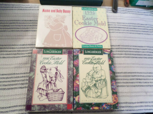 4 Longaberger Easter Cookie or Chocolate Molds in boxes 1994 1995 1996 1997