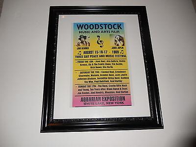"""Large Framed Woodstock 1969 Hendrix Janis Joplin Handbill Poster 24"""" by 20"""""""