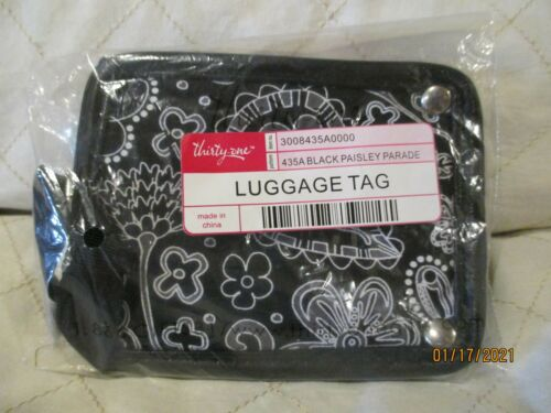 NWT Thirty One Luggage Tag in Black Paisley Parade 435A