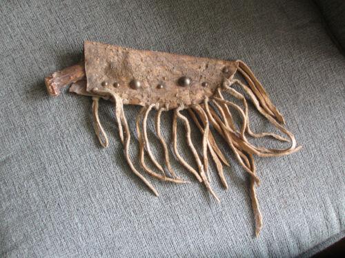 1800s MONTANA BLACKFOOT TRIBE NATIVE AMERICAN INDIAN KNIFE & FRINGED SHEATH