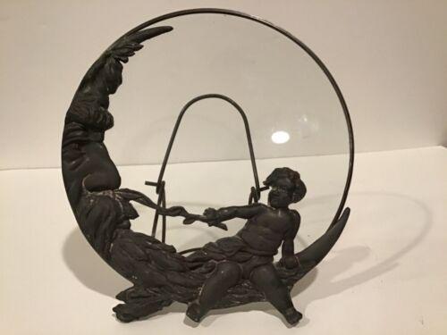 Victorian / Art Nouveau Metal Vanity Mirror Easel Frame Man in Moon & Cherub